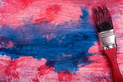 Red and blue color painting. Painting red and blue color on white paper with paint brush for use background royalty free stock photography