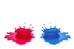 Red and blue color water splash Stock Images