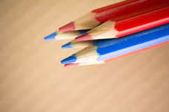 red blue colored crayons Royalty Free Stock Photos