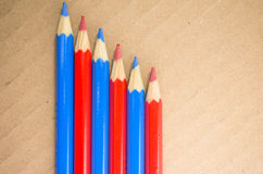 Red blue colored crayons Stock Photography