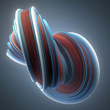 Red and blue colored twisted shape. Computer generated abstract geometric 3D render illustration Stock Image