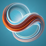 Red and blue colored twisted shape. Computer generated abstract geometric 3D render illustration royalty free stock photo