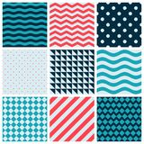 Red Blue Colorful Wave Vector Abstract Geometric Seamless Pattern Design Collection Decoration Web Royalty Free Stock Photography