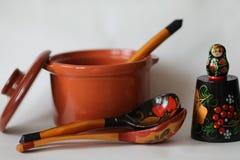 Wooden dolls russian souvenirs matryoshka stock images
