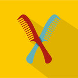 Red and blue combs icon, flat style Royalty Free Stock Photos