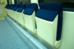 Red blue comfortable seats on the train. Photographed in Novi Sad, Serbia Royalty Free Stock Photography