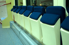 Red blue comfortable seats on the train. Photographed in Novi Sad, Serbia Stock Photo
