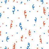 Red and blue confetti on a white background. Patriotic colours for Independence Day decoration Royalty Free Stock Photo