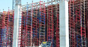Red and blue construction scaffolding Stock Image
