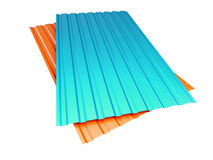 Red and blue corrugated metal sheet on a white background. 3D illustration Royalty Free Stock Photos