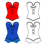 Red, blue corset flat outlined style Stock Images