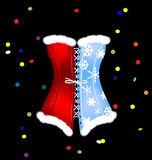 Red blue corset of New Year Stock Photography