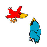 Red and blue crows. Red and blue simple painted standing crows Royalty Free Illustration
