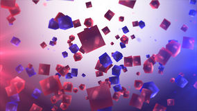 Red and blue cubes in the air. 3d illustration Stock Photo