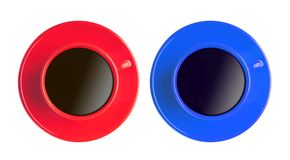 Red and blue cup with black coffee isolated on white Stock Photos