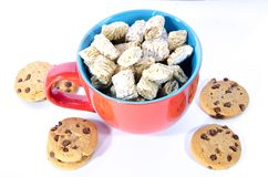 A red and blue cup of cereal breakfast or snack stock images