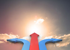Red and blue curved arrows pointing Royalty Free Stock Photo