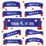 Red and blue curved independence day ribbon banners eps10 Stock Images