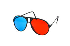 Red and Blue 3D glasses isolated. On white background with clipping path Royalty Free Stock Image