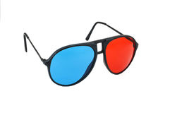 Red and Blue 3D glasses isolated. On white background with clipping path Stock Images