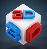 Red and blue 3D text on white cube.  Stock Image