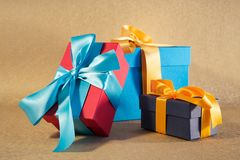 Red blue and dark blue gift boxes Royalty Free Stock Photo