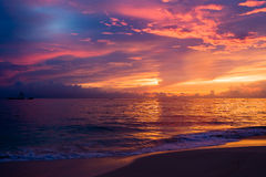 Red blue dark sky in the morning beach Royalty Free Stock Photo