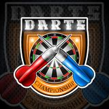 Red and blue darts crossed with round dartboard in center of shield. Sport logo for any darts game or championship vector illustration
