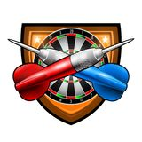 Red and blue darts crossed with round target in center of shield. Sport logo for any darts game or championship isolated on white royalty free illustration
