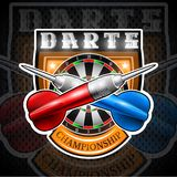 Red and blue darts crossed with round target in center of shield. Sport logo for any darts game or championship vector illustration