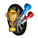 Red and blue darts with cup of first place on dartboard on white. Sport logo for any darts game or championship stock illustration