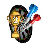 Red and blue darts with cup of second place on dartboard on white. Sport logo for any darts game or championship. Red and blue darts with cup of second place on stock illustration