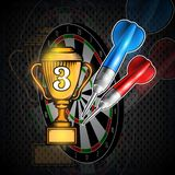 Red and blue darts with cup of third place on dartboard. Sport logo for any darts game or championship. Red and blue darts with cup of third place on dartboard royalty free illustration