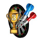 Red and blue darts with cup of third place on dartboard on white. Sport logo for any darts game or championship. Red and blue darts with cup of third place on royalty free illustration