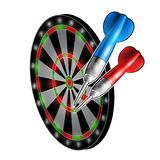 Red and blue darts on dartboard isolated on white. Sport logo for any darts game or championship. Red and blue darts on dartboard isolated on white. Sport logo vector illustration