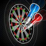 Red and blue darts on dartboard. Sport logo for any darts game or championship. Red and blue darts on dartboard. Sport logo for darts game or championship royalty free illustration