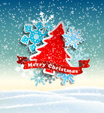 Red and blue decorative text Merry Christmas on beige background, illustration Stock Photo
