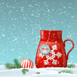 Red and blue decorative text Merry Christmas on beige background, illustration Royalty Free Stock Photography