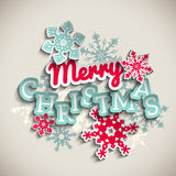 Red and blue decorative text Merry Christmas on beige background, illustration royalty free stock images