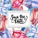 Red and blue diamond crystal mineral. Save the date handwriting monogram calligraphy. Frame border watercolor ornament. stock illustration