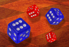 Red and blue dice Royalty Free Stock Image