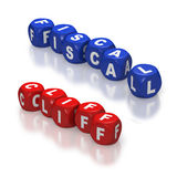Fiscal cliff represented with red and blue dice. Red and blue dice or cubes with text of Fiscal Cliff on white background Royalty Free Stock Images