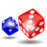 Red and blue dice Stock Photos