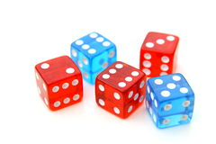 Red and blue dices Stock Image