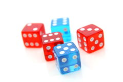 Red and blue dices Stock Photography