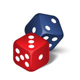 Red and blue dices. Vector red and blue dices  on the white background Stock Images