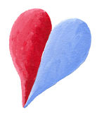 Red blue divided heart Royalty Free Stock Photo