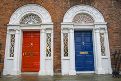 Red and blue doors in historical Dublin Stock Photography