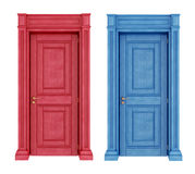 Red and blue doors vintage doors stock illustration