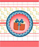 Red, blue, dotted, striped card with gift with bow. Card with one, red gift with pattern and blue bow Stock Photo